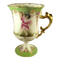 Hand Painted Porcelain Footed Cup, Artist Signed.