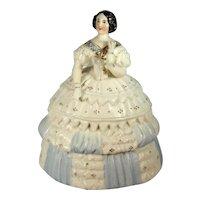 Victorian Porcelain Fairing Trinket Box, Full Figure Lady, C.1850-80.