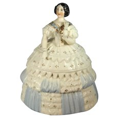 Victorian Porcelain Fairing Trinket Box, Full Figure Lady, C.1850-80.