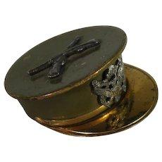 WW II Brass Enamel Military Hat Sweetheart Locket.