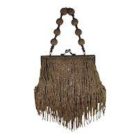 Art Deco Flapper Style Copper Beaded Handbag Purse.