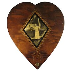 Wood Marquetry Inlaid Sweetheart Box, Photo 1935 Ford Tudor.