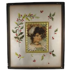 Christmas Picture, Real Hair Postcard Dresden Foil, Embroidered Holly C.1900.