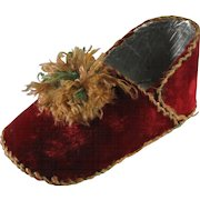 Christmas Victorian Original Ornament Candy Container Slipper Shoe, C.1880-1910.