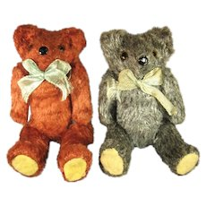 Two Vintage Miniature Teddy Bears, Mohair Squeakers C.1920.