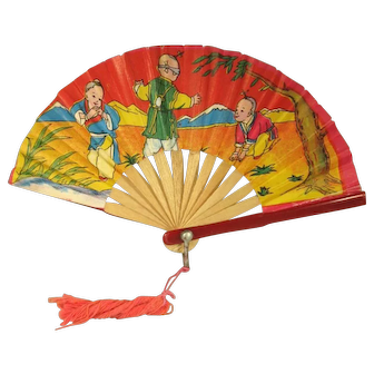 Doll Hand Fan, Miniature Paper and Plastic, C.1950.