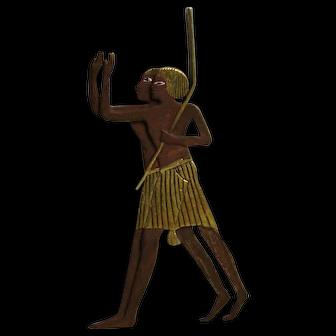 Egyptian Revival Servant Figures Fur or Coat Pin, C.1920s.