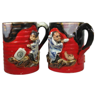 Pair, Sumida Pottery Mugs Sumida Gawa, Signed Inoue Ryosai, C.1900.