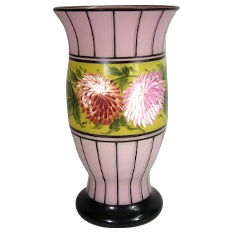 Czech Hand Painted Glass Vase, Deco C.1930.