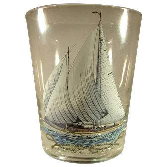 Sailing Ship, Hand Painted Glass Tumbler, Motto.