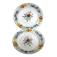 Villeroy & Boch Stick Spatter Plates Hand Painted, C.1890.