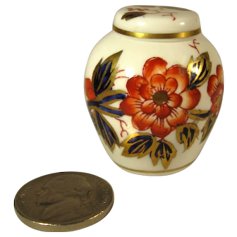 Doll House Miniature Hand Painted Ginger Jar, Crown Staffordshire England.