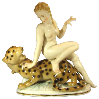 Deco Nude Lady with Leopard, C.1930s.