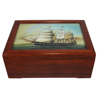 American Clipper Ship Reverse Painted on Glass Box Lid.