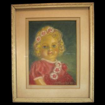 Doll Pastel Portrait, 1942, signed, framed.
