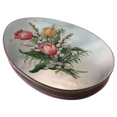 Easter Egg-Shaped Chocolates Box, Hand Painted Mirror Lid, C.1900.
