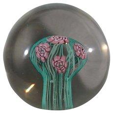 Murano Fratelli Toso Magnum Paperweight, Roses Mushroom Bouquet.