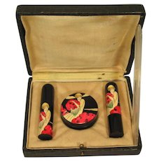 Deco French Flapper Girl, Bakelite 3 Piece Vanity Set, C.1925.