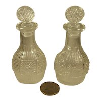 Pair Miniature Doll or Toy Pressed Glass Decanters.