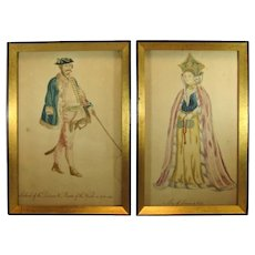 Two Antique Framed Painted Watercolors, Historical Costumes, C.1877.