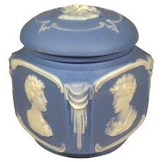 Schafer & Vater Jasperware Cameo Trinket Powder Dresser Box.