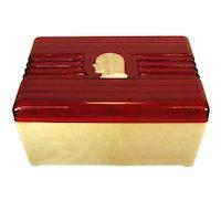 Deco Lady, Catalin Bakelite Trinket Box, C.1930s.