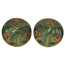 Plique-a-jour Enamel Pierced Earrings, Conical Style, C.1970-1980.