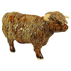 Scottish Highland Bull Pottery Sculpture, Spaghetti Clay Technique.