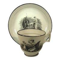 Bat Print Black Transferware Cup & Saucer, C.1810.
