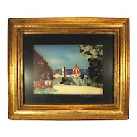 Pietra Dura Hard Stone Plaque, Double Frame Artist Signed.