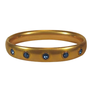 Foster & Bailey F&B Edwardian Gold Filled and Faux Sapphire Bracelet.