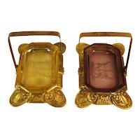 Pair Czech Glass Open Salts & Brass Holders, C.1930.