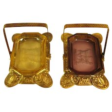 Pair Czech Glass Open Salts & Brass Holders, C.1930.