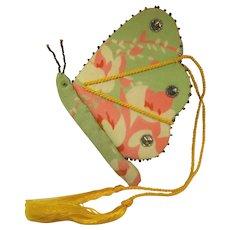 Needle Book Case Butterfly, Silk Satin & Cut Steel Beads, C.1900.