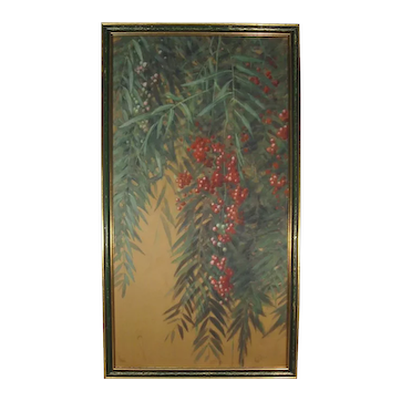 AR Valentien California Pepper Tree with Berries Watercolor Gouache, Signed.