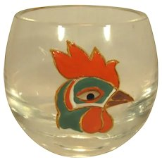 Glass Tumblers, 5 Wine or Whiskey with Enameled Rooster.