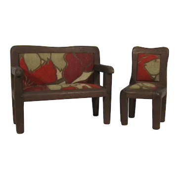 Arts & Crafts Style Dollhouse Settee and Chair.