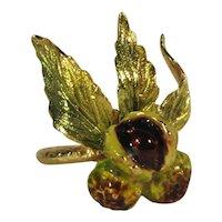 Art Nouveau 18K Gold, Enameled Chestnuts Ring C. 1900.