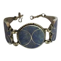 Vintage Taxco Mexico Silver Lapis Channel Inlay Panel Bracelet, C.1930-1948.