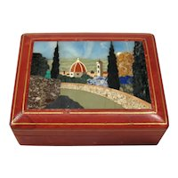 Pietra Dura Hard Stone Plaque on Leather Box Lid.