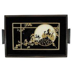 Art Deco Silhouette Wood Vanity Tray, C.1933-1935.