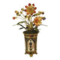 Gorham Jane Hutcheson Enameled Flowers, Imari Vase.