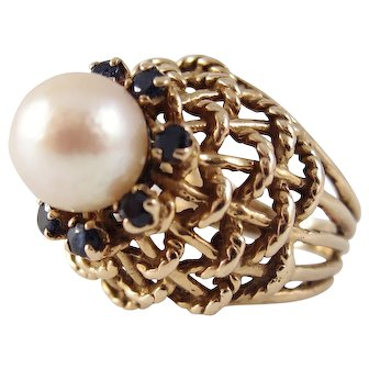 1960s 14K Gold, Cultured Pearl and Sapphire Basket Weave Cocktail Ring