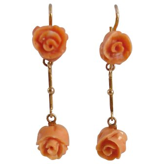 1920s Carved Coral Rose and 10K Gold Earrings