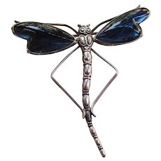 Sterling Silver Thomas L Mott English Butterfly Wing Dragonfly Brooch