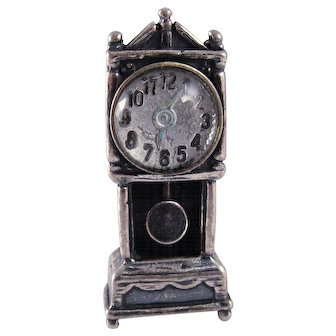 1950s Beau Sterling Silver Clock Charm with Moveable Pendulum and Reverse Painted Glass Face