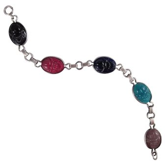 1930s Art Deco Sterling Silver Scarab Bracelet