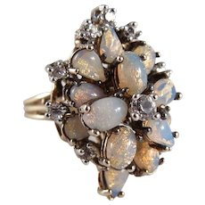 """1960s Panetta Sterling Vermeil """"Opal"""" Glass and Rhinestone Cocktail Ring"""