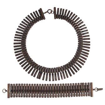 1930s Art Deco Copper Collar Necklace and Bracelet Set