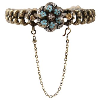 Victorian 14K Gold Old European Cut Diamond and Enamel Bracelet with Forget-Me-Nots